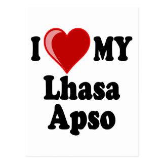 I Love (Heart) My Lhasa Apso Dog Postcard