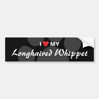I Love (Heart) My Longhaired Whippet Bumper Stickers