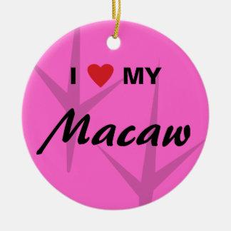 I Love (Heart) My Macaw Bird Tracks Design Ceramic Ornament