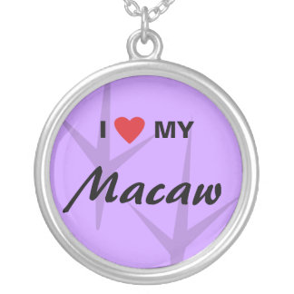 I Love (Heart) My Macaw Bird Tracks Design Silver Plated Necklace