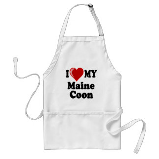 I Love (Heart) My Maine Coon Cat Adult Apron
