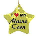 I Love (Heart) My Maine Coon Cat Pawprint Ceramic Ornament