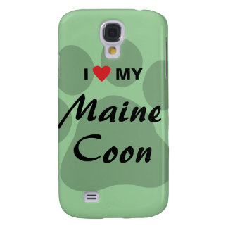 I Love (Heart) My Maine Coon Cat Pawprint Galaxy S4 Case