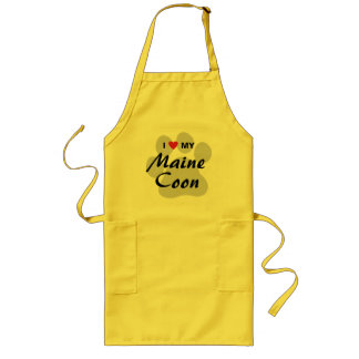 I Love (Heart) My Maine Coon Cat Pawprint Long Apron