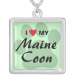 I Love (Heart) My Maine Coon Cat Pawprint Silver Plated Necklace