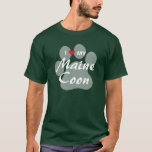 I Love (Heart) My Maine Coon Cat Pawprint T-Shirt