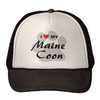 I Love (Heart) My Maine Coon Cat Pawprint Trucker Hat