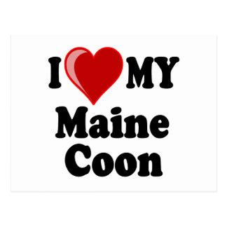 I Love (Heart) My Maine Coon Cat Postcard