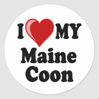 I Love (Heart) My Maine Coon Cat Classic Round Sticker