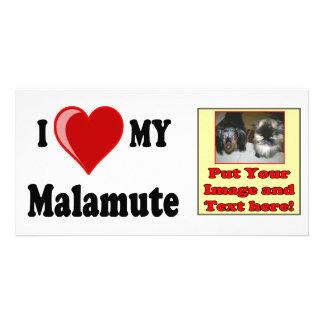 I Love (Heart) My Malamute Dog Personalized Photo Card