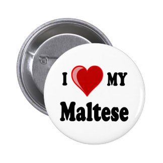 I Love (Heart) My Maltese Dog Pins