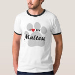 I Love (Heart) My Maltese Dog Lovers T-Shirt