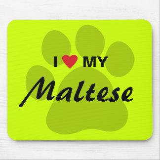 I Love (Heart) My Maltese Pawprint Mouse Pad