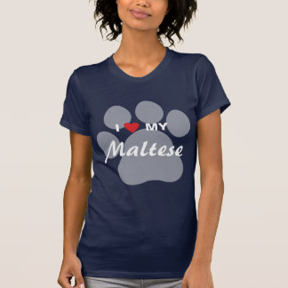 I Love (Heart) My Maltese Pawprint T-Shirt