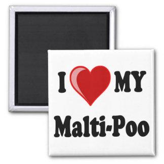 I Love (Heart) My Malti-Poo Dog 2 Inch Square Magnet