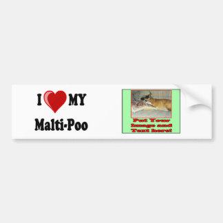 I Love (Heart) My Malti-Poo Dog Bumper Sticker