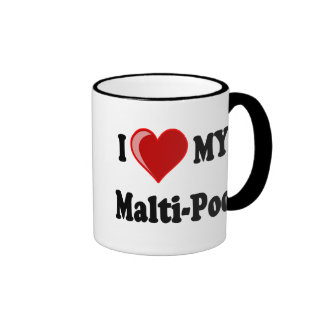 I Love (Heart) My Malti-Poo Dog Ringer Mug