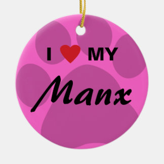 I Love (Heart) My Manx Cat Pawprint Design Double-Sided Ceramic Round Christmas Ornament