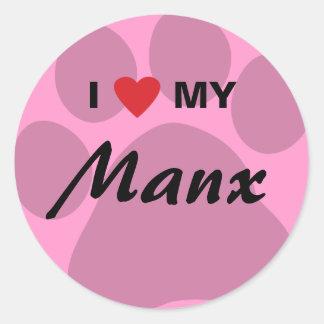 I Love (Heart) My Manx Cat Pawprint Design Classic Round Sticker