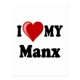 I Love (Heart) My Manx Cat Postcard