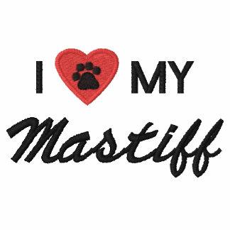 I Love (Heart) My Mastiff Pawprint Embroidered Hoody