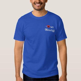 I Love (Heart) My Mastiff Pawprint Embroidered T-Shirt