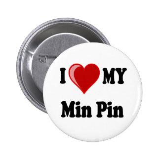 I Love (Heart) My Min Pin Dog 2 Inch Round Button