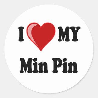 I Love (Heart) My Min Pin Dog Classic Round Sticker