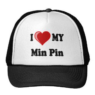 I Love (Heart) My Min Pin Dog Hat