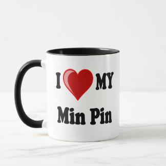 I Love (Heart) My Min Pin Dog Mug
