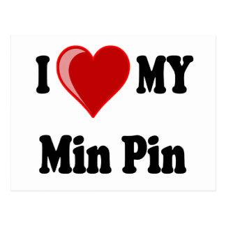 I Love (Heart) My Min Pin Dog Postcard