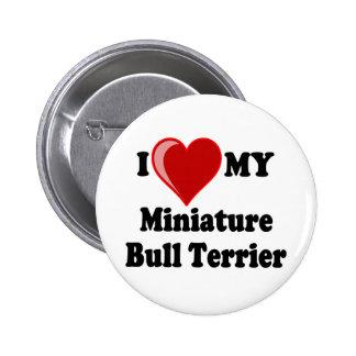 I Love (Heart) My Miniature Bull Terrier Dog Pins