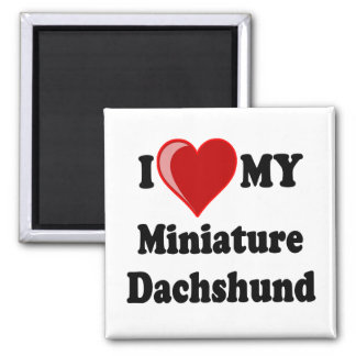 I Love (Heart) My Miniature Dachshund Dog 2 Inch Square Magnet