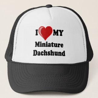 I Love (Heart) My Miniature Dachshund Dog Trucker Hat