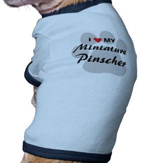 I Love (Heart) My Miniature Pinscher Pawprint Doggie T Shirt