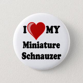 I Love (Heart) My Miniature Schnauzer Dog Pinback Button