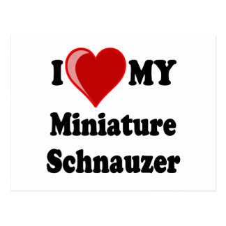 I Love (Heart) My Miniature Schnauzer Dog Postcard