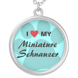 I Love (Heart) My Miniature Schnauzer Round Pendant Necklace