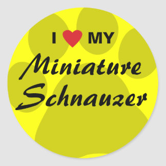 I Love (Heart) My Miniature Schnauzer Pawprint Classic Round Sticker