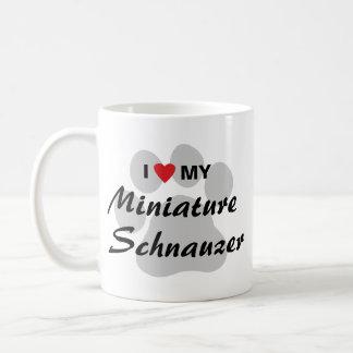 I Love (Heart) My Miniature Schnauzer Pawprint Coffee Mug