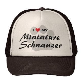 I Love (Heart) My Miniature Schnauzer Pawprint Trucker Hat