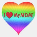 I LOVE (HEART) MY MOM HEART STICKER