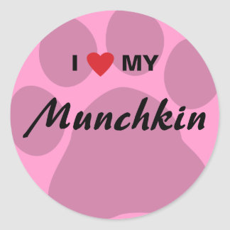 I Love (Heart) My Munchkin Cat Pawprint Design Classic Round Sticker