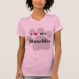 I Love (Heart) My Munchkin Cat Pawprint Design Shirt