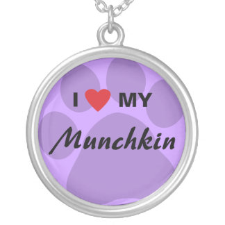 I Love (Heart) My Munchkin Cat Pawprint Design Silver Plated Necklace