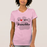 I Love (Heart) My Munchkin Cat Pawprint Design T-Shirt