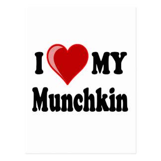 I Love (Heart) My Munchkin Cat Postcard