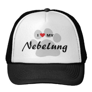 I Love (Heart) My Nebelung Cat Pawprint Design Trucker Hat