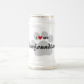 I Love (Heart) My Newfoundland Pawprint Beer Stein