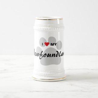 I Love (Heart) My Newfoundland Pawprint Beer Stein